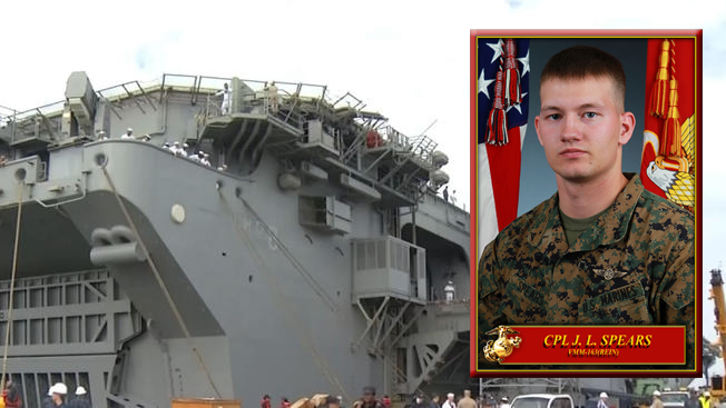 Navy officials said 21-year-old Cpl. Jordan L. Spears, of Memphis, Indiana, was lost at sea on Oct. 1, 2014.