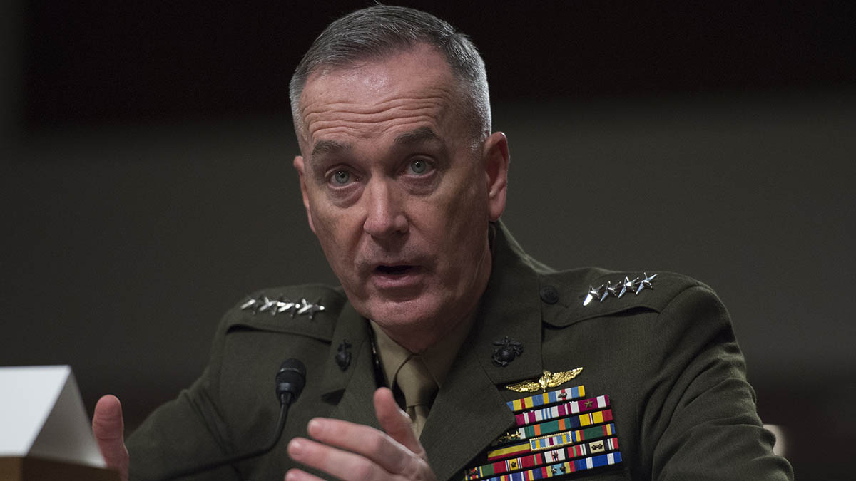 FILE - Marine Corps Commandant Gen. Joseph Dunford testifies before the Senate Armed Services Committee hearing in Washington, D.C., on Tuesday, March 10, 2015.