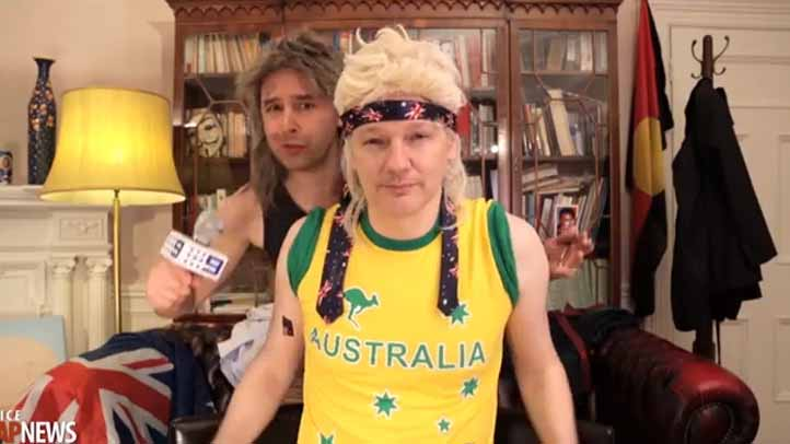 A screenshot of the music video where Wikileaks founder Julian Assange appears in a mullet wig.