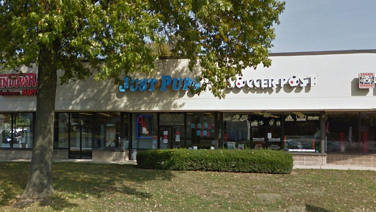 The Just Pups pet store is pictured in East Brunswick, New Jersey.