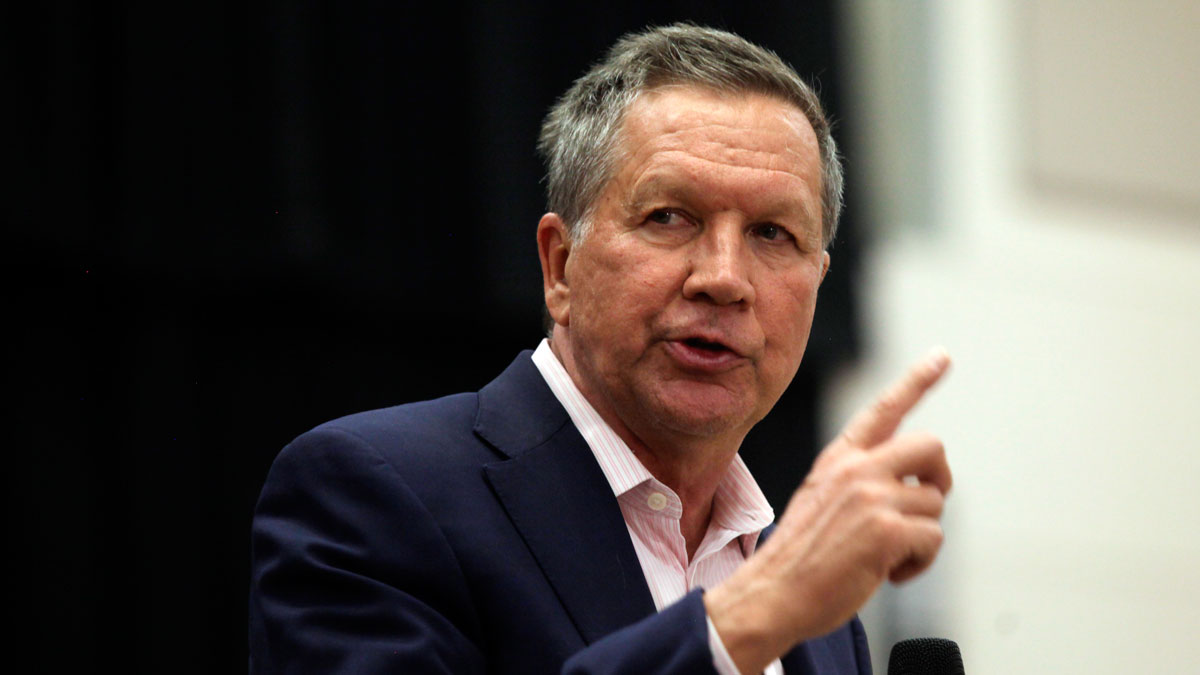 Republican presidential candidate Ohio Gov. John Kasich speaks at a town hall event at Utah Valley University, Friday, March 18, 2016, in Orem, Utah.
