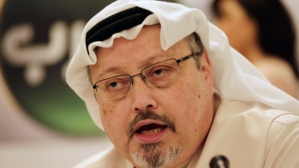 FILE - Journalist Jamal Khashoggi speaks during a press conference in Manama, Bahrain, on Dec. 15, 2014.