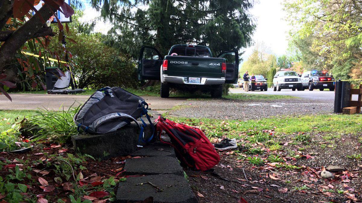 Six children were injured when a pickup truck hit a mailbox before crashing into a school bus stop in Maple Valley, Washington, on April 14, 2016.