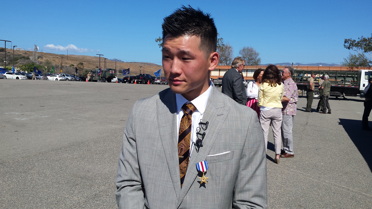 Jonathan Kong receiving his Silver Star on Sept. 19. 2014, in San Diego.