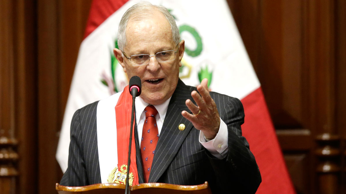 Peru's President Pedro Pablo Kuczynski addresses Congress during his inauguration ceremony in Lima, Peru, on July 28, 2016. Kuczynski assumed Peru's presidency Thursday with a Cabinet that shares his Ivy League, pro-business pedigree — a reliance on technocrats that could become a liability as he deals with an unfriendly congress and a resurgent left.