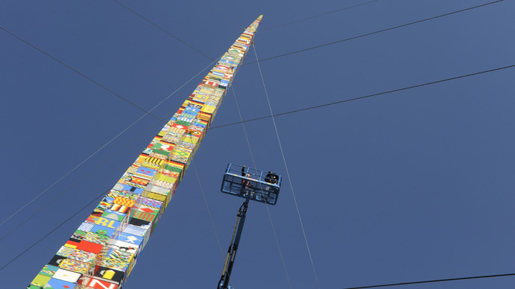 A group of Delaware students broke the Guinness World Record for the tallest LEGO tower. Pictured is a LEGO tower in Munich, Germany in October 2009.