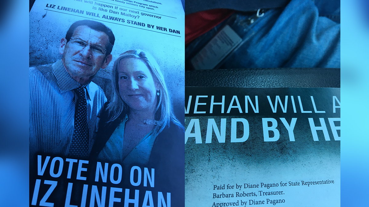 Democratic state representative Liz Linehan says this image of her with Gov. Dannel Malloy was manipulated by her opponent's campaign.
