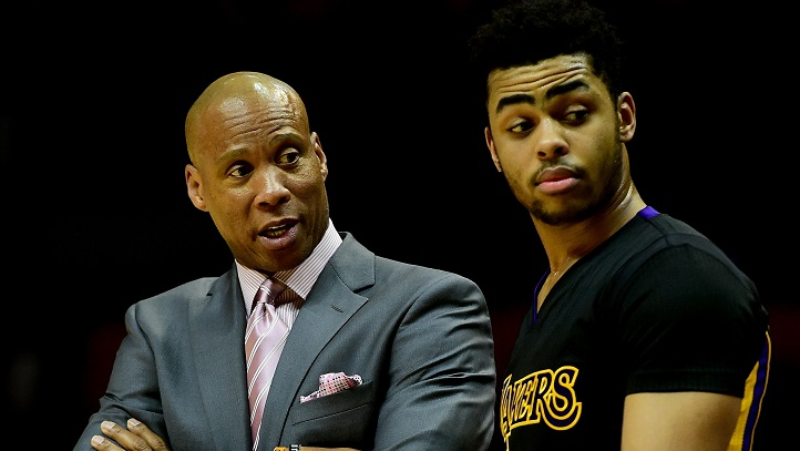 Los Angeles Lakers head coach Byron Scott, who was reportedly fired on Sunday night, talks with D'Angelo Russell #1 during the game against the Los Angeles Clippers at Staples Center on January 29, 2016, in Los Angeles, California.