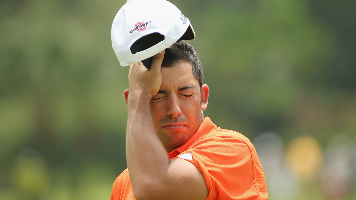 Pablo Larrazabal of Spain during round two of the 2014  Maybank Malaysian Open at Kuala Lumpur Golf & Country Club on April 18, 2014 in Kuala Lumpur, Malaysia.