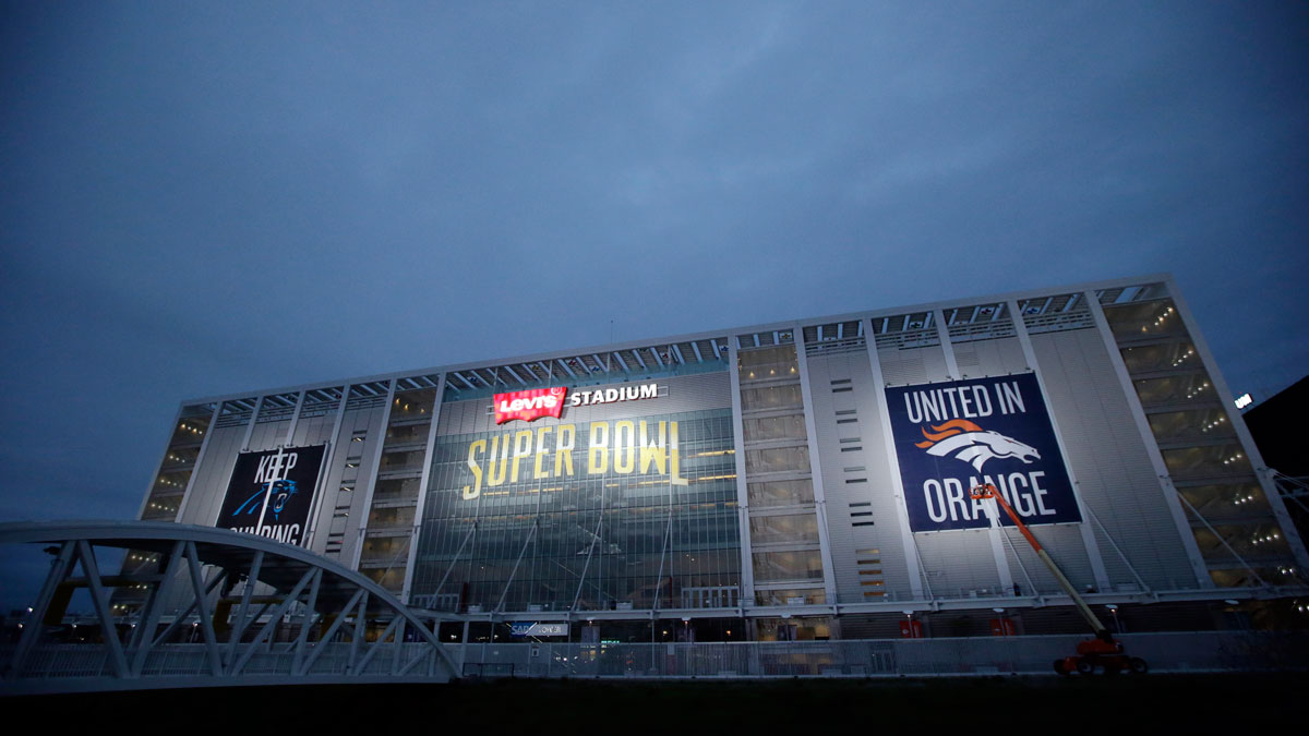 Levi's Stadium is decorated for the Super Bowl Saturday, Jan. 30, 2016, in Santa Clara, Calif. Super Bowl 50, between the Carolina Panthers and Denver Broncos, will be played at Levi's Stadium Feb. 7.