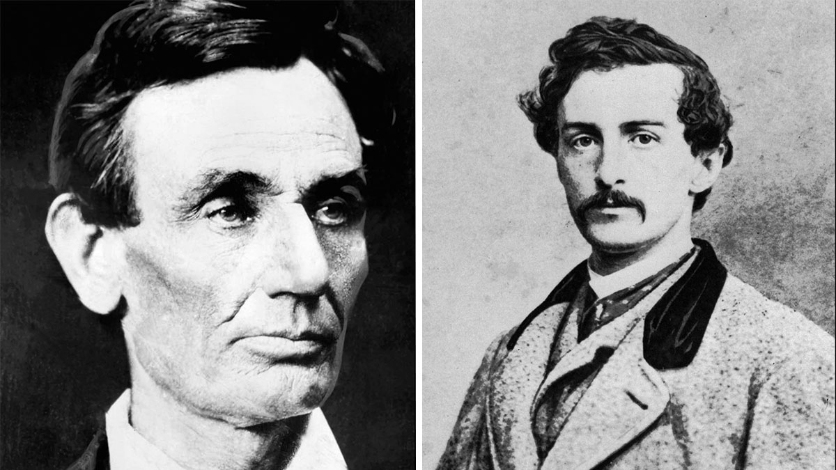 President Abraham Lincoln, left, was assassinated by John Wilkes Booth.