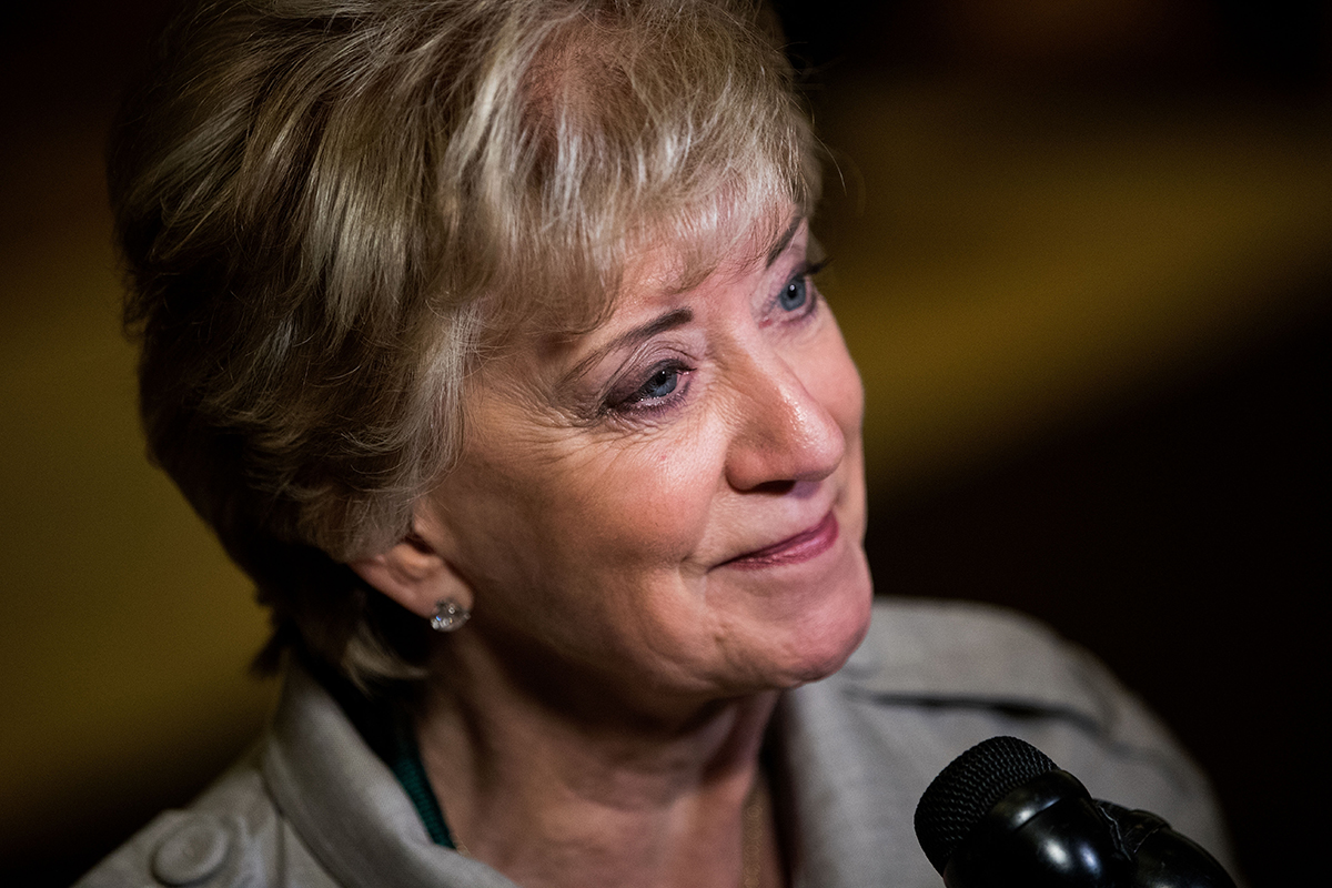 Linda McMahon, former CEO of World Wrestling Entertainment (WWE), speaks with reporters at Trump Tower, Nov. 30, 2016 in New York City.