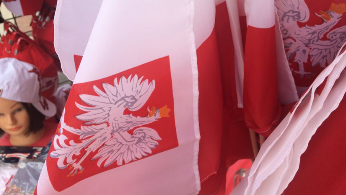 Polish flags and hats on display at the Little Poland Festival in New Britain Sunday.