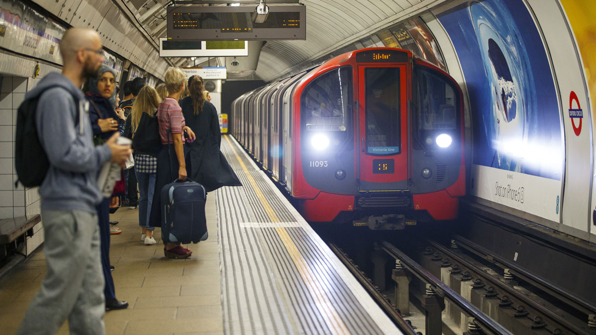 File - London Underground passengers travel on Victoria line in London, England in this August 19, 2016 file photo. In the wake of Wednesday's deadly attach on the city, there were messages of unity written throughout 'Tube' stations in London Thursday morning.
