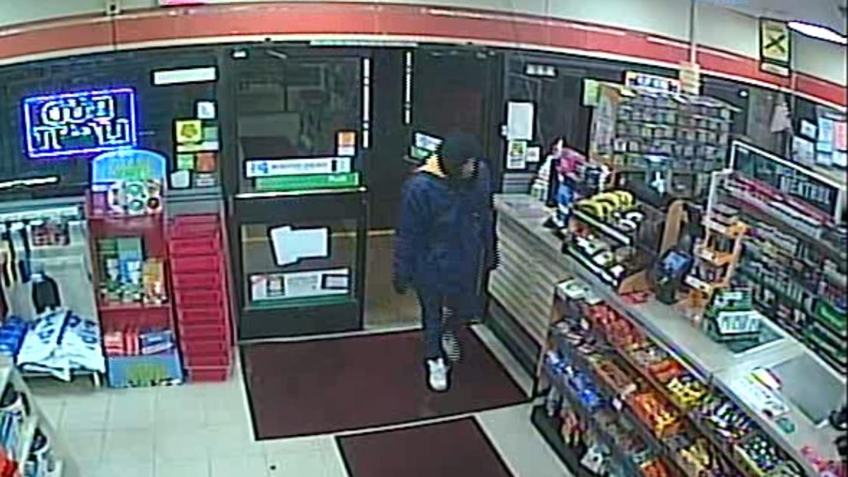 Manchester police say the suspect pictured above robbed the 7-11 at 253 Main Street early Wednesday morning.