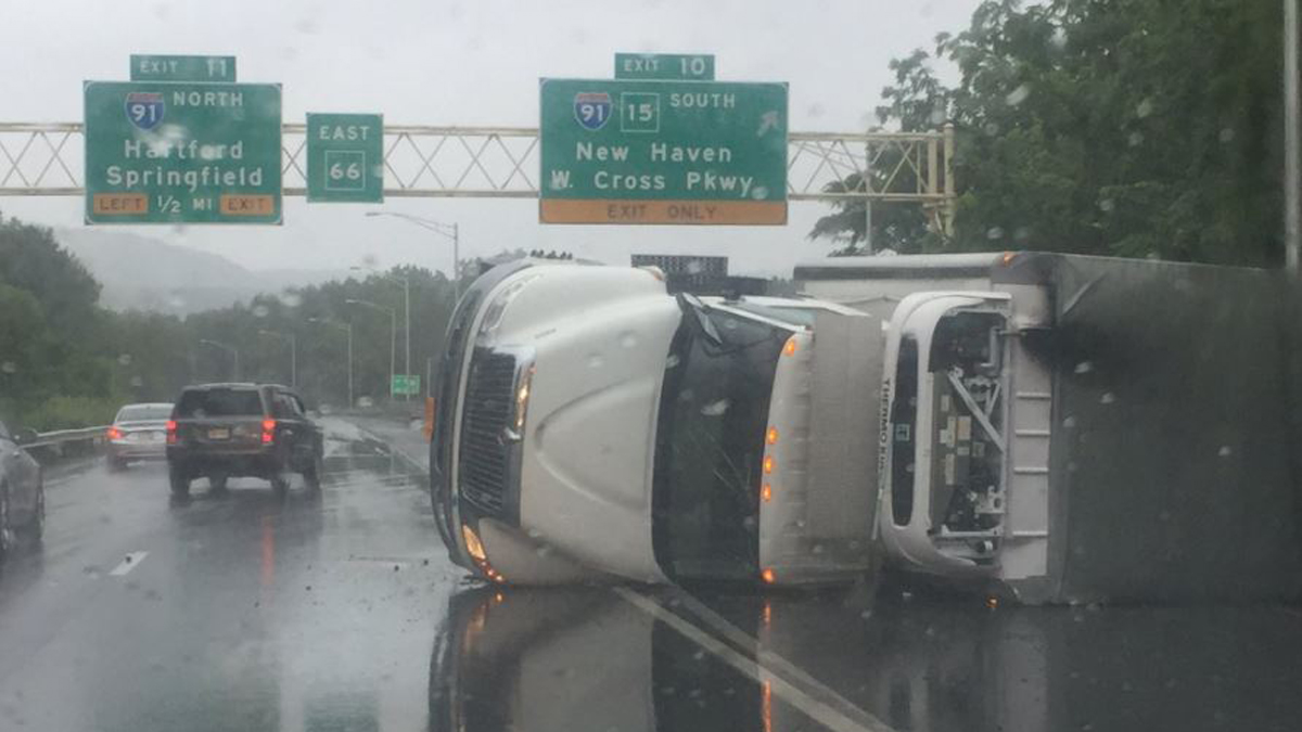 A box truck rolled over on I-691 in Meriden Friday morning.