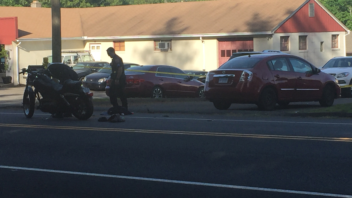 Old Colony Road in Meriden was closed after a serious accident involving a motorcycle Saturday.