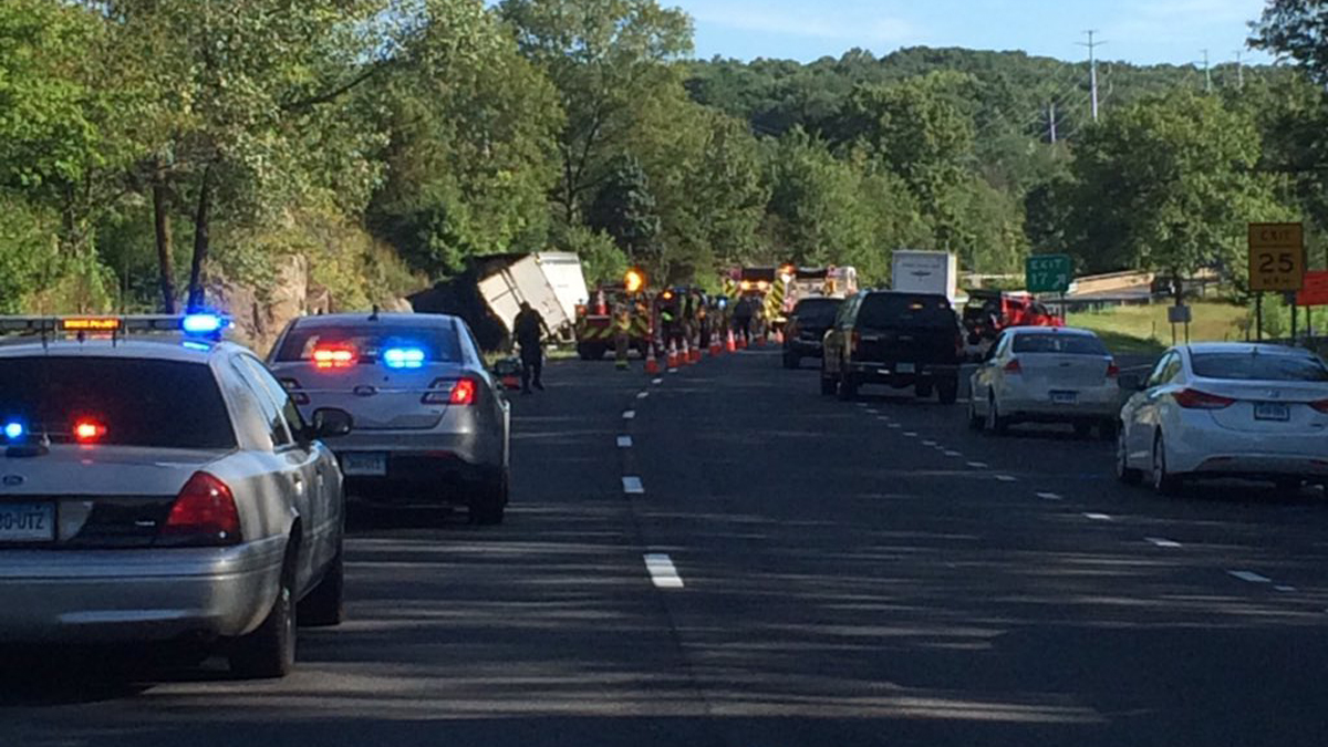A tractor-trailer carrying juice crashed on I-84 east in Middlebury Saturday morning.