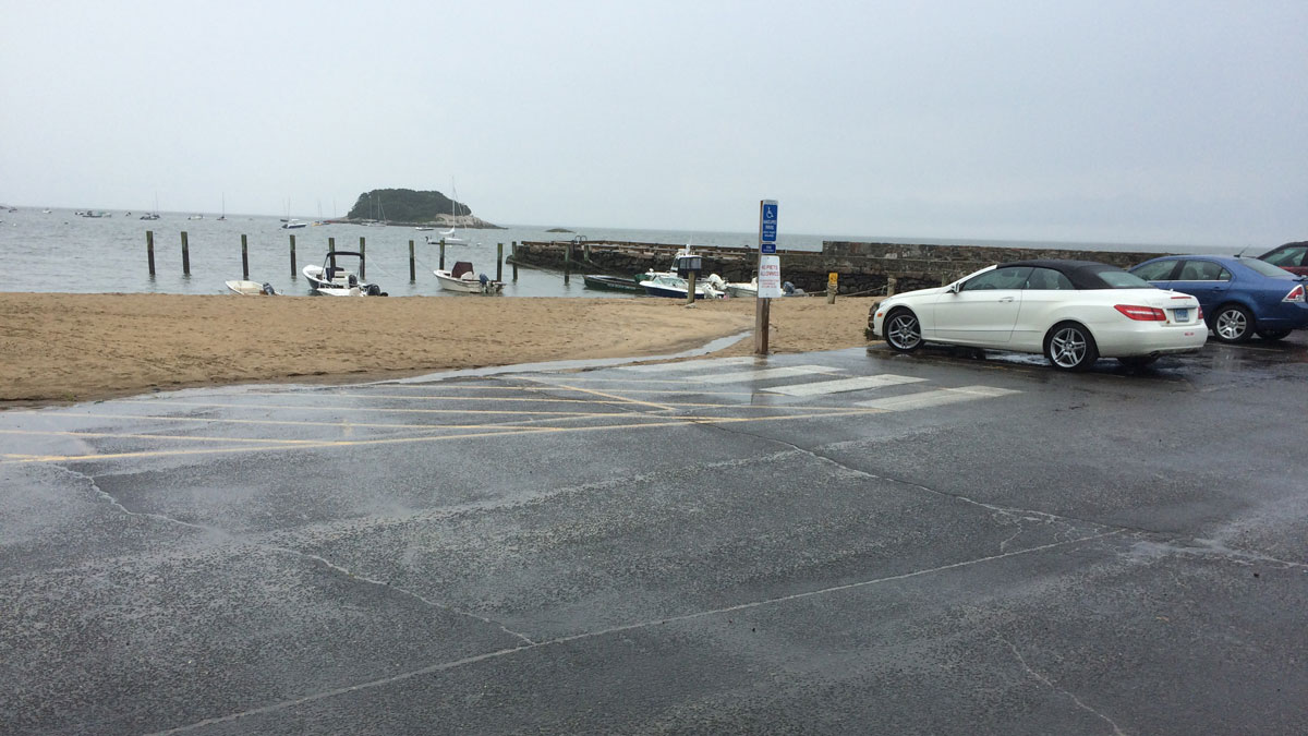 The parking lot at West Wharf Beach in Madison