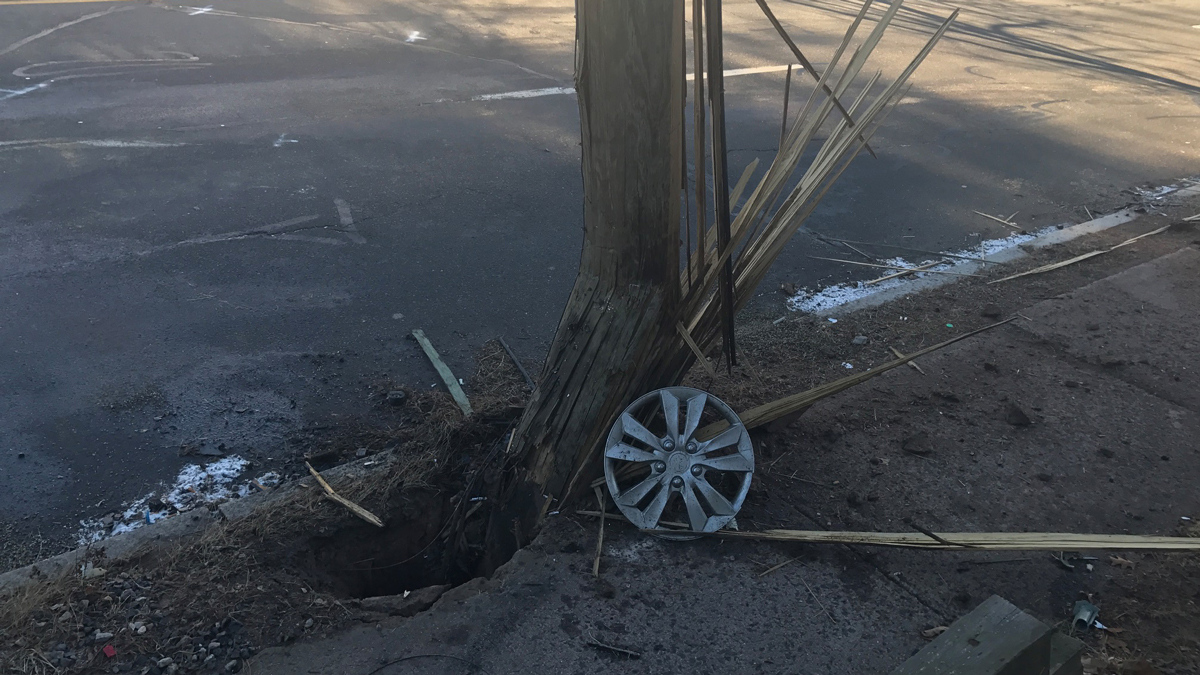 A suspected drunk driver crashed into a pole on West Middle Turnpike in Manchester Sunday, police said. Two passengers in the car were seriously injured.