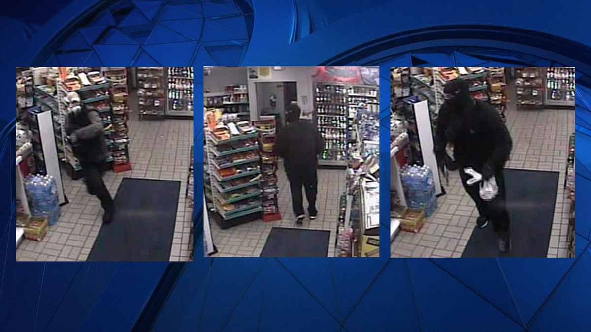The two suspects pictured above are accused of robbing the Sunoco Gas Station at 330 Tolland Turnpike in Manchester.