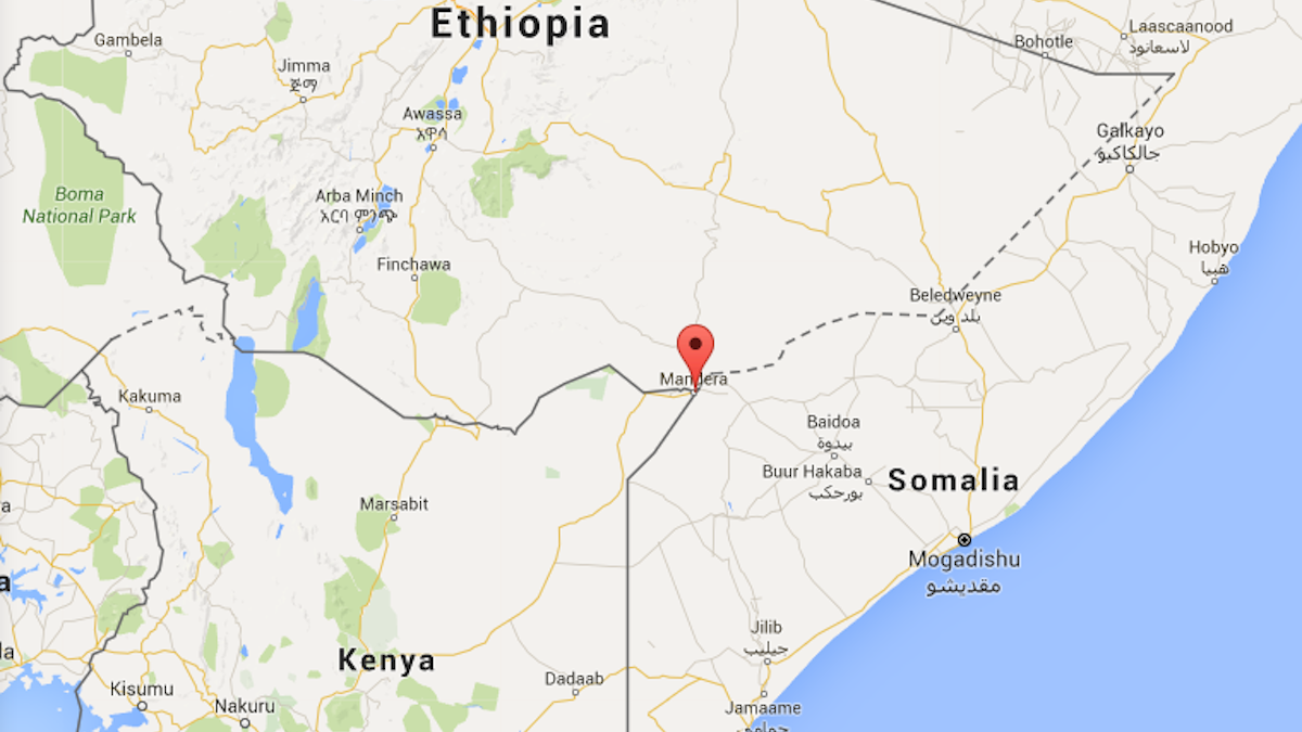 Map of Mandera, Kenya, where officials and witnesses say al Shabab militants opened fire on a bus killing two people.