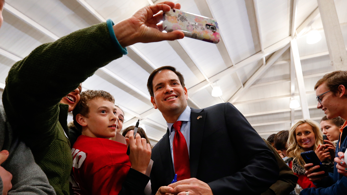 Republican presidential candidate Sen. Marco Rubio, R-Fla., poses for a photograph at Clemson University during a campaign stop, Friday, Feb. 19, 2016 in Clemson, S.C.