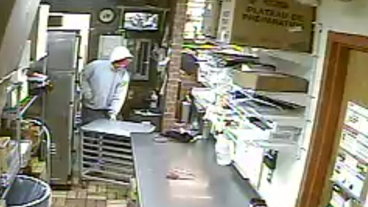 Police are looking for the man who robbed a Subway at knifepoint yesterday.