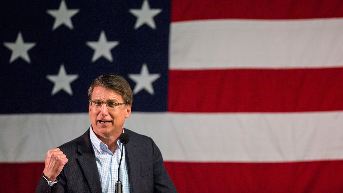 North Carolina Gov. Pat McCrory speaks at the Wake County Republican Party 2016 County Convention in Raleigh, North Carolina, on Tuesday, March 8, 2016.