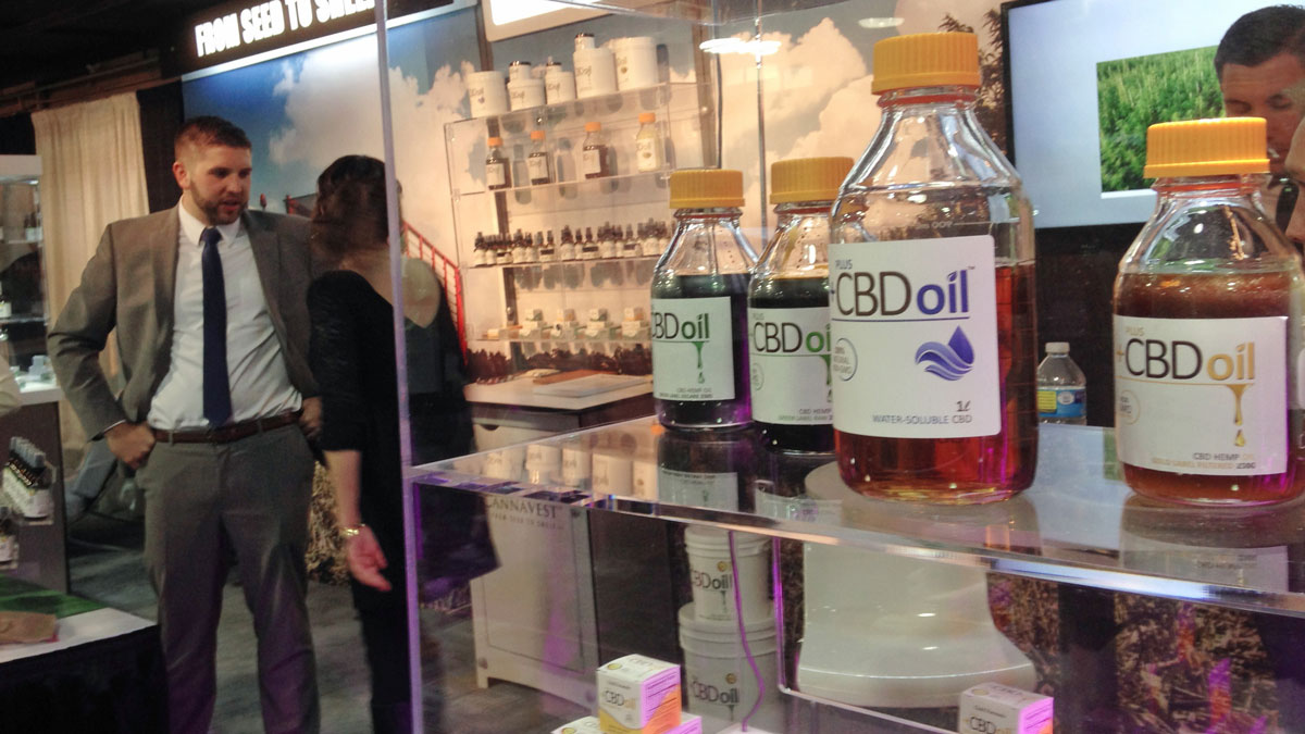In this Wednesday, May 20, 2015, photo, oil containing CBD from agricultural hemp is displayed at the Marijuana Business Conference & Expo in Chicago.