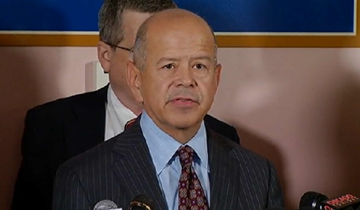 FAA Administrator Michael Huerta speaks to reporters at the Chicago Air Route Traffic Control Center in Aurora.