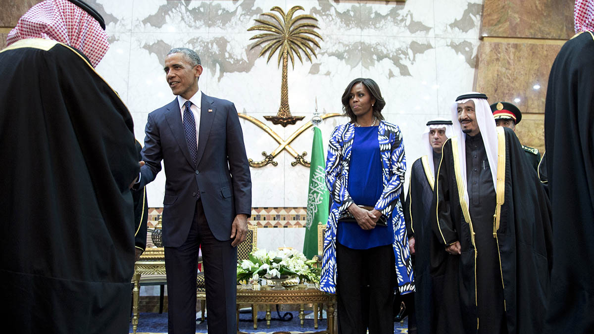 President Barack Obama and first lady Michelle Obama participate in a delegation receiving line with new Saudi Arabian King, Salman bin Abdul Aziz, fith left, in Riyadh, Saudi Arabia, Tuesday, Jan. 27, 2015.