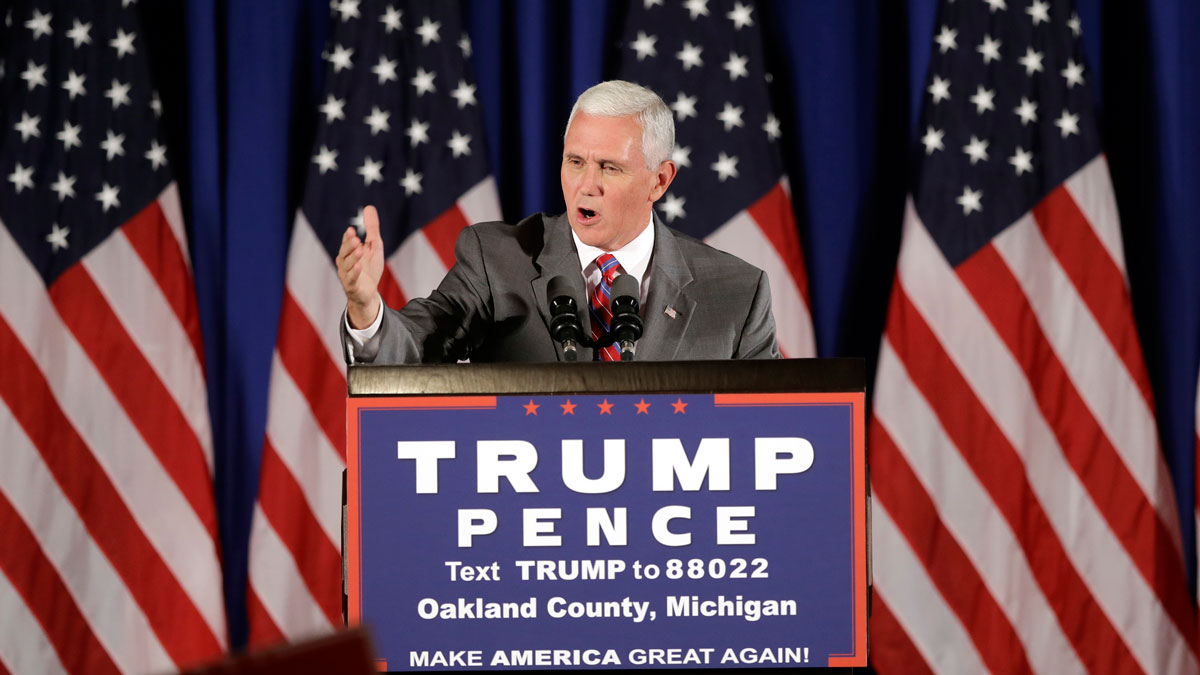 Republican vice presidential candidate Gov. Mike Pence, R-Ind., addresses supporters during a campaign event in Novi, Mich., on July 28, 2016.