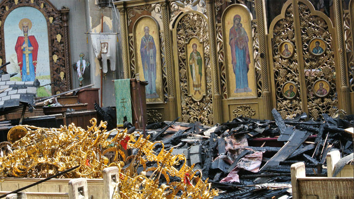 Amid a pile of scorched rubble, many of the icons at Saint Mary the Protectress Ukrainian Orthodox Church remained in tact after a four alarm fire torched much of the historic building on Sunday.