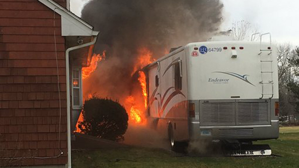 Fire broke out at a home on Sterling Hill Road in Moosup Monday afternoon.