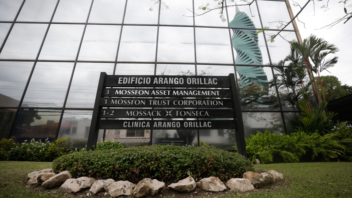 A marquee of the Arango Orillac Building lists the Mossack Fonseca law firm in Panama City, Thursday, April 7, 2016.