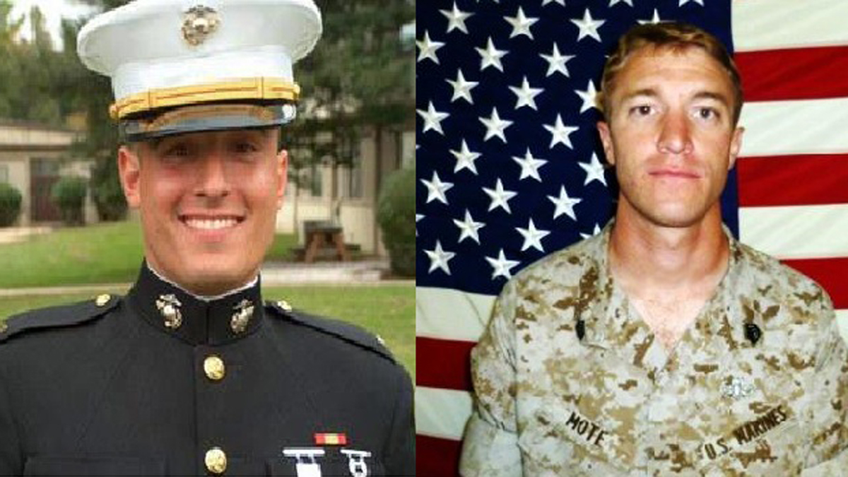 Capt. Matthew P. Manoukin (l) and Staff Sgt. R. Mote were both from 1st Marine Special Operations Battalion and died in an enemy attack in Afghanistan in 2012. Both are credited with acting heroically and saving the lives of their fellow comrades. They will be posthumously awarded the Navy Cross on Jan. 18 for their courage.
