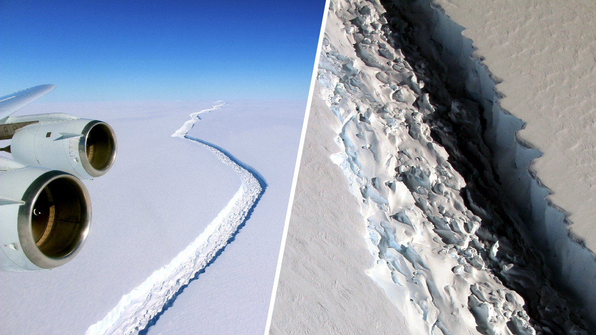 These Nov. 10, 2016, file photos show a crack in the Larsen C ice shelf in Antarctica. The shelf cleaved a trillion-tonne iceberg in mid-July 2017, researchers said.