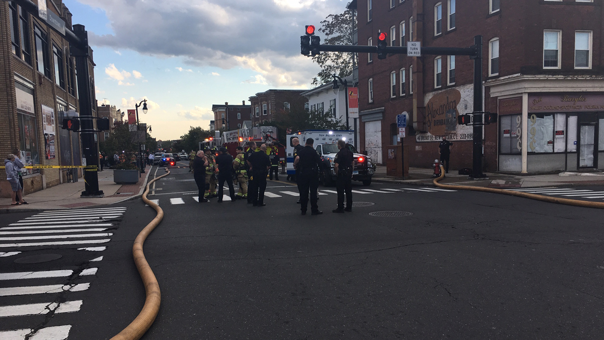 Fire crews responded to a fire at an apartment building at 38 Broad St. in New Britain Tuesday.