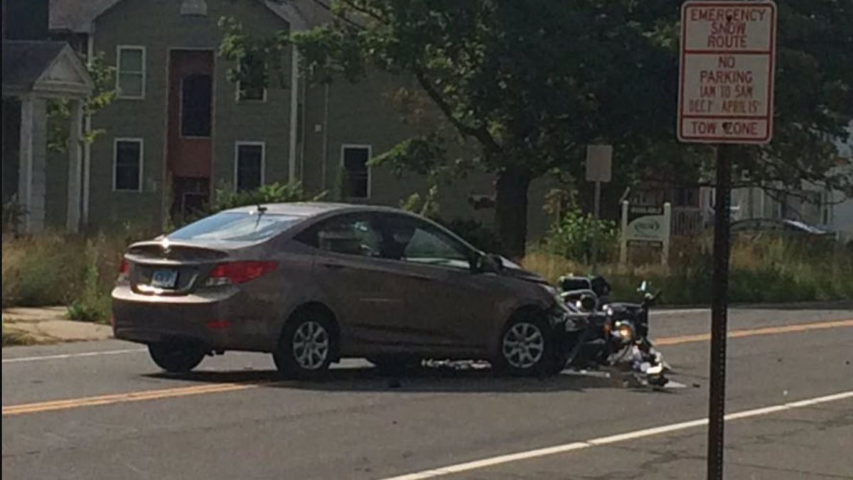 A Connecticut State Police trooper was involved in a motorcycle crash on Farmington Avenue in New Britain Sunday morning.