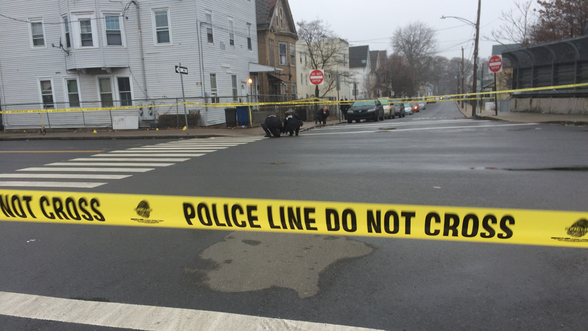 The scene of a shooting at Arthur Street and Lamberton Street in New Haven Saturday morning.
