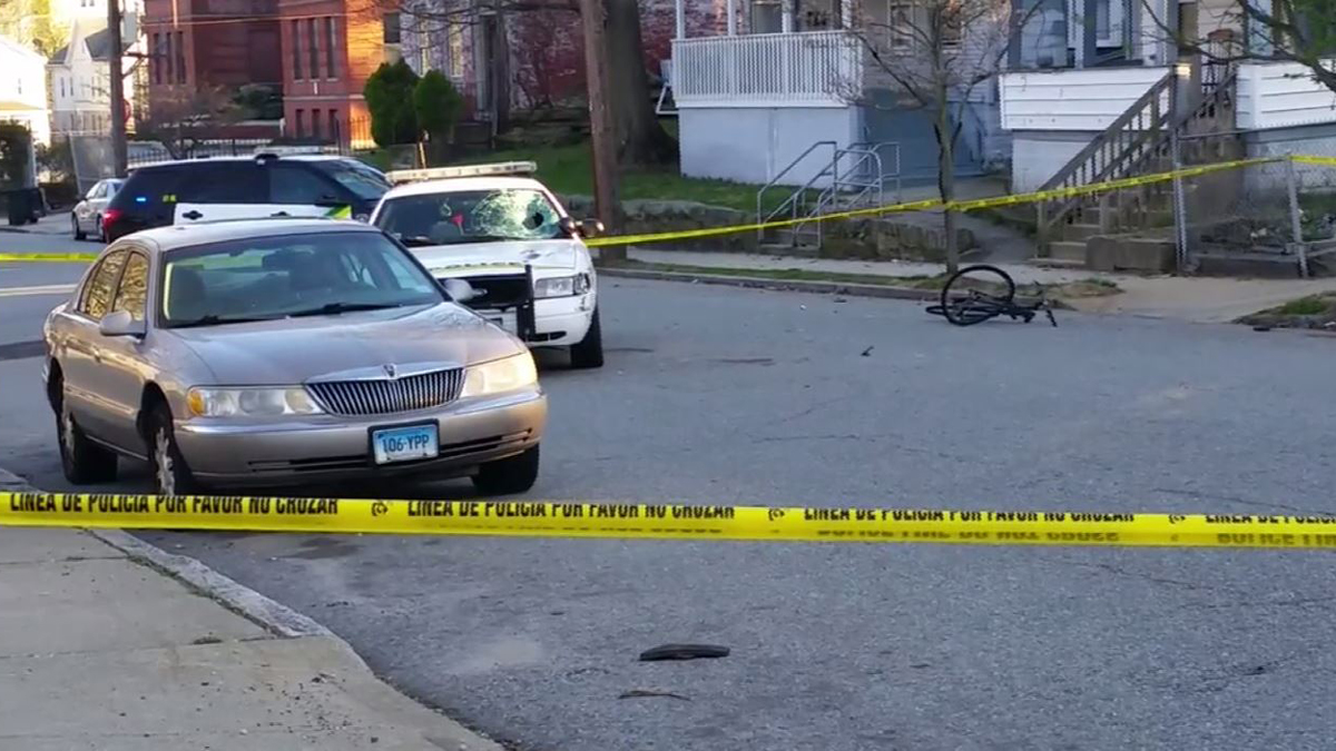 A bicyclist was seriously hurt after being struck by a New London police cruiser Sunday afternoon.