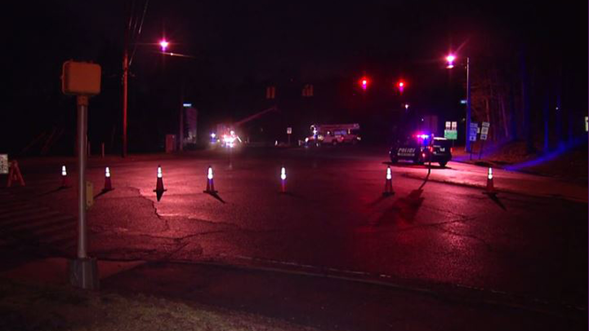 Main Street in Newington is closed near Robbins Avenue after a car crashed into a pole overnight Wednesday.