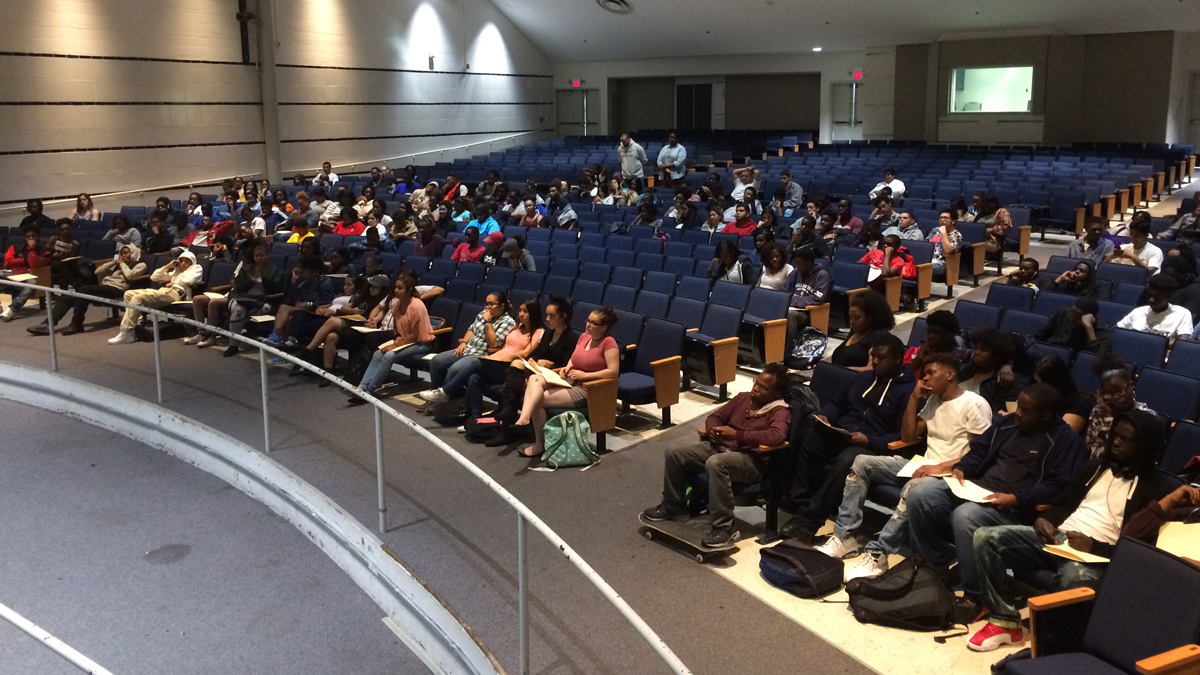 Students at a college application workshop Wednesday, October 19, at James Hillhouse High School in New Haven. The workshop is part of the American College Application campaign program.
