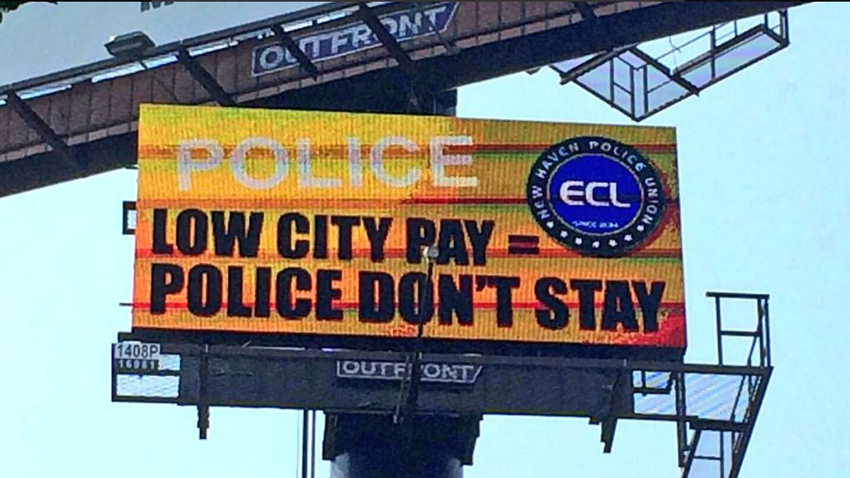 New Haven Police Union Billboards Push for Better Pay