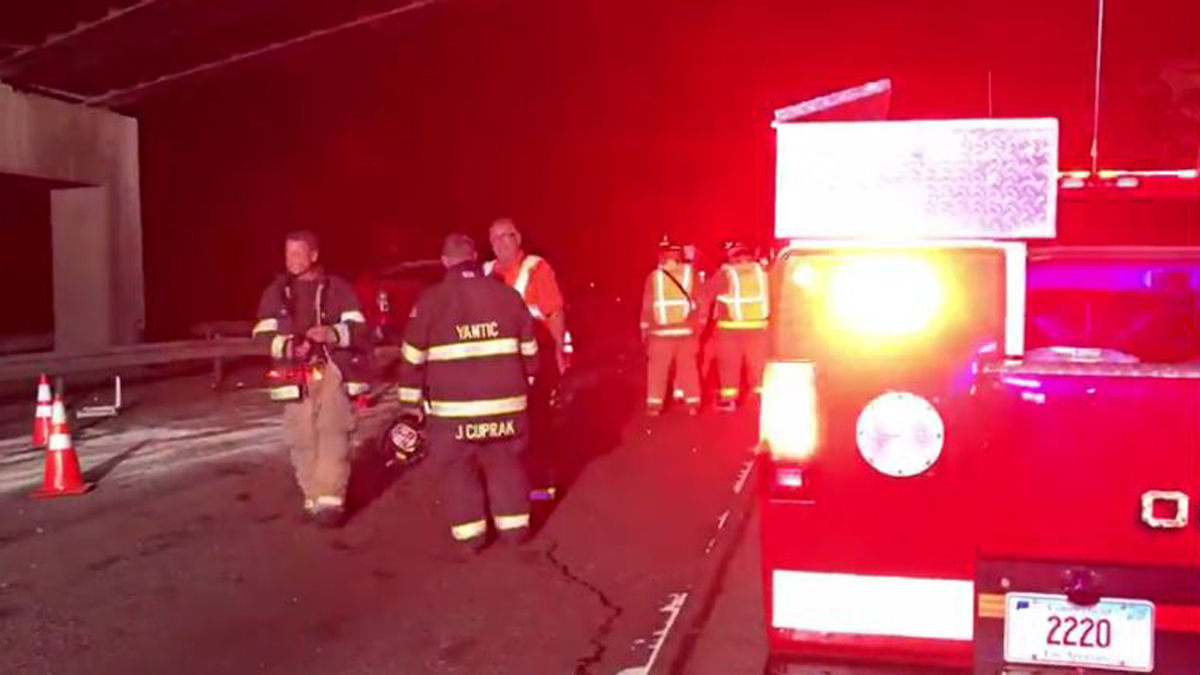 One person was killed and two others seriously injured in a crash on I-395 in Norwich Sunday night.