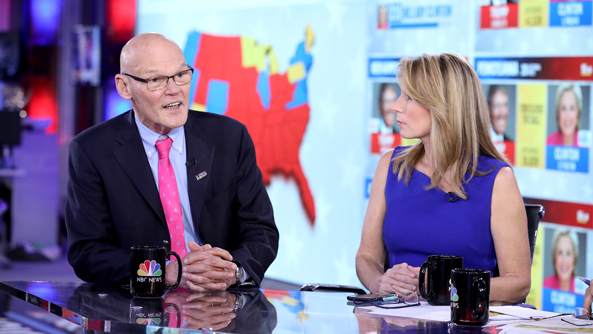 James Carville, Democratic Strategist and Nicolle Wallace, Republican Strategist, on Tuesday, Nov. 8, 2016 in New York.