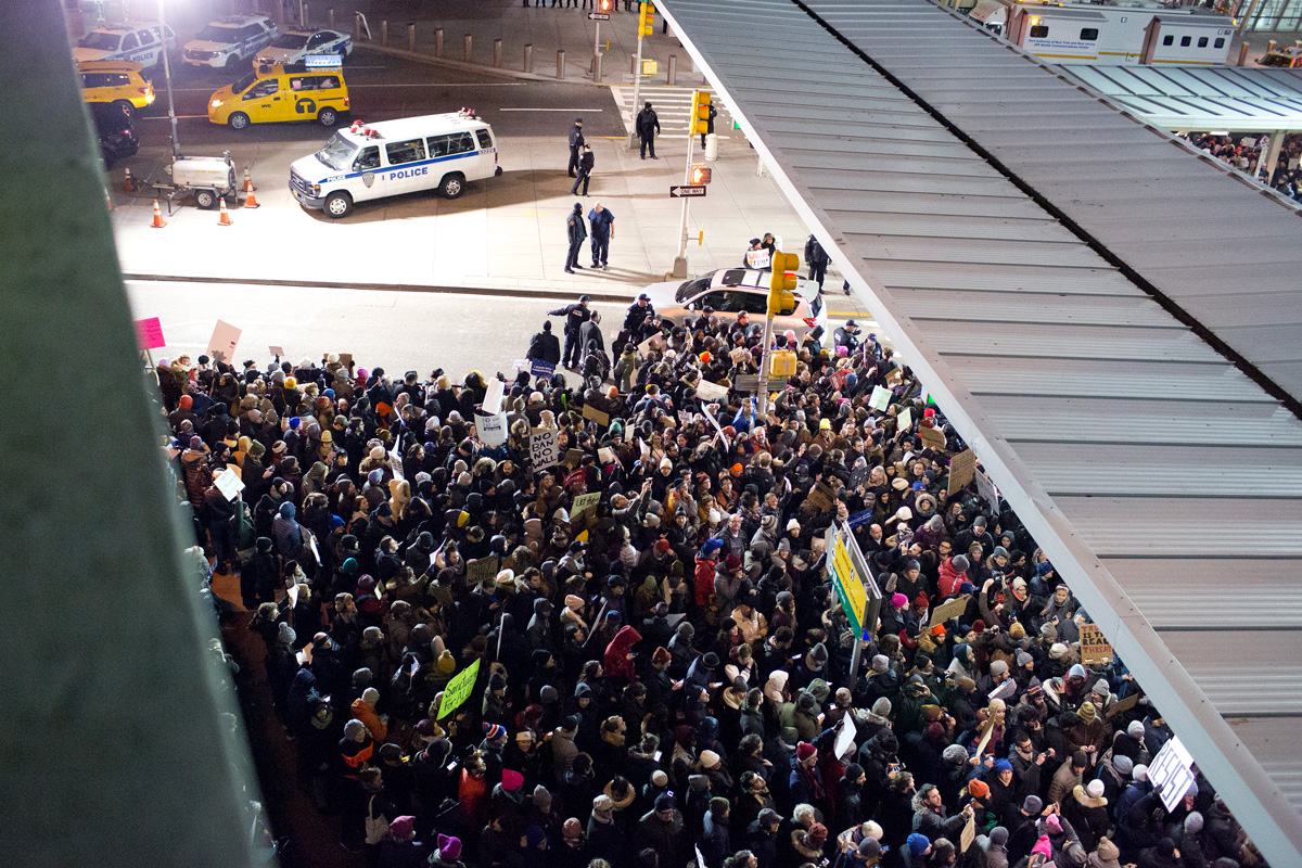After U.S. President Trump issued a travel ban on seven Muslim nations, and travelers with visas to the United States were detained at JFK airport, protesters gather to demand that they are set free at Terminal 4 at JFK airport on Jan. 28, 2017