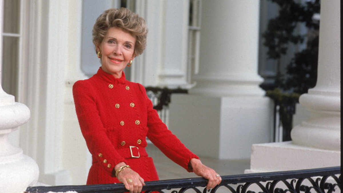 Portrait of First Lady Nancy Reagan at the White House.