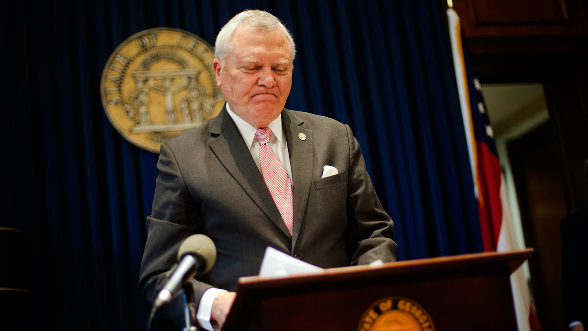 Georgia Gov. Nathan Deal speaks during a news conference as he announces he has vetoed legislation allowing clergy to refuse performing gay marriage and protecting people who refuse to attend the ceremonies Monday, March 28, 2016, in Atlanta.